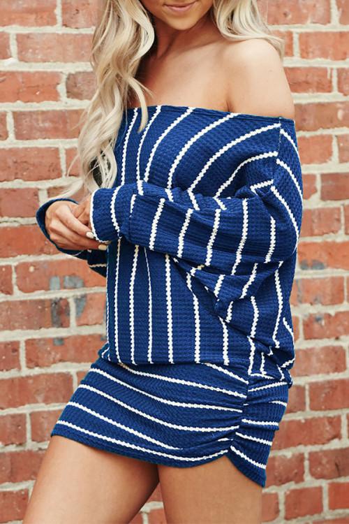 Off-the-shoulder Striped Dress