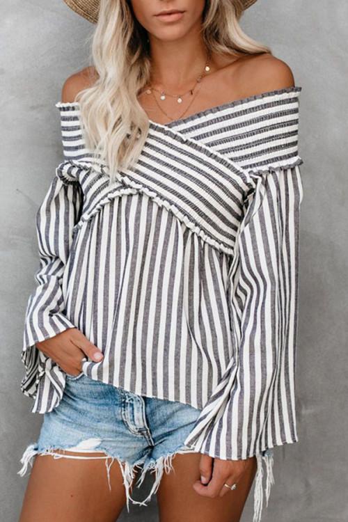 Off Shoulder Striped Blouse