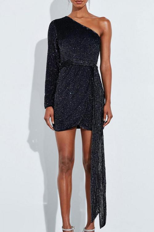 One-shoulder Sequins Dress