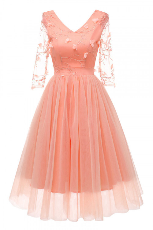 V-neck Applique Tulle Dress
