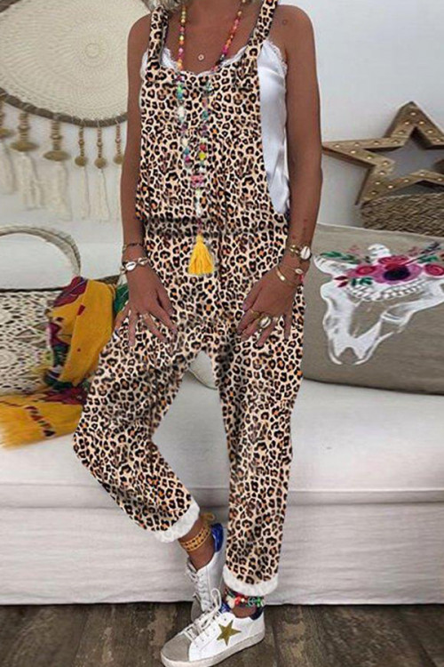 Oversized Print Camouflage Jumpsuit