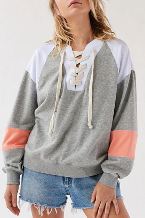 Patched Loose Drawstring Sweatshirt