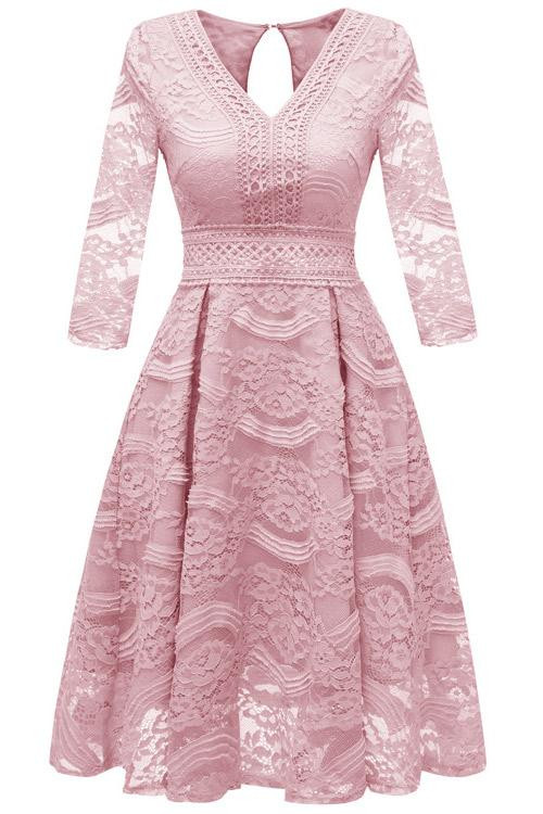 V-neck Lace Homecoming Dress
