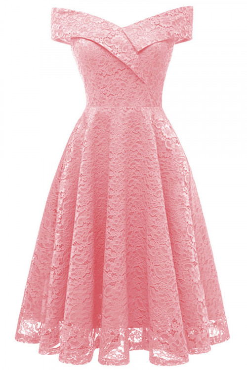 Off Shoulder Lace Homecoming Dress