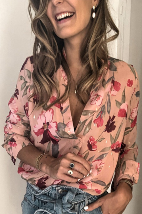 Pink Floral Print Lapel Shirt