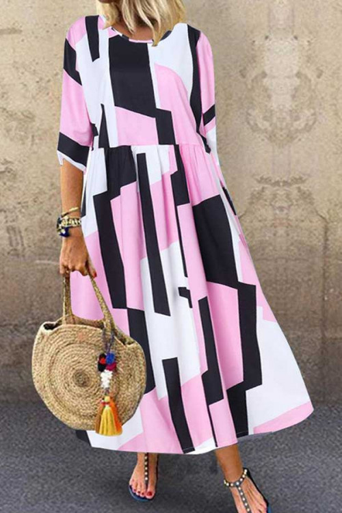 Pink Scoop Printed Maxi Dress