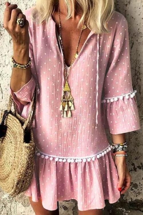 Pink V-neck Ruffle Shirt Dress
