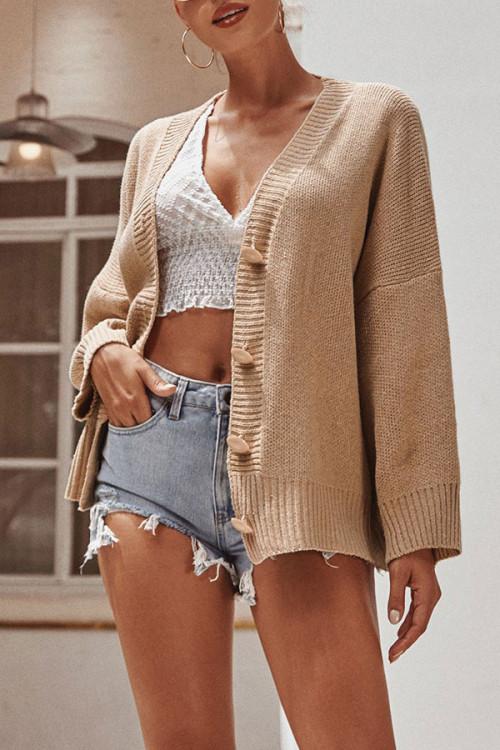 Plain Buttoned Knit Cardigan