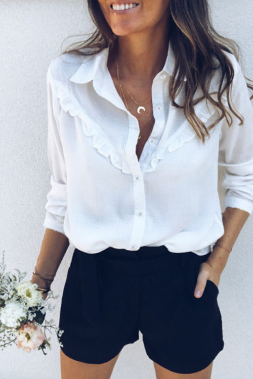 Plain Casual Ruffle Shirt