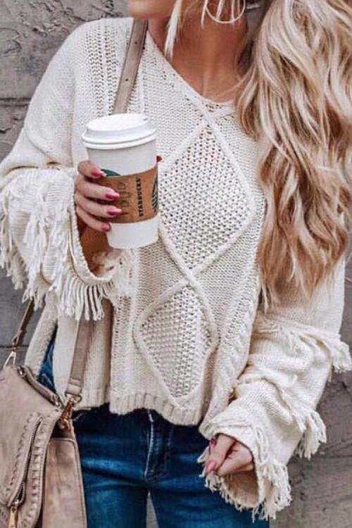 Plain Fringed V-neck Sweater