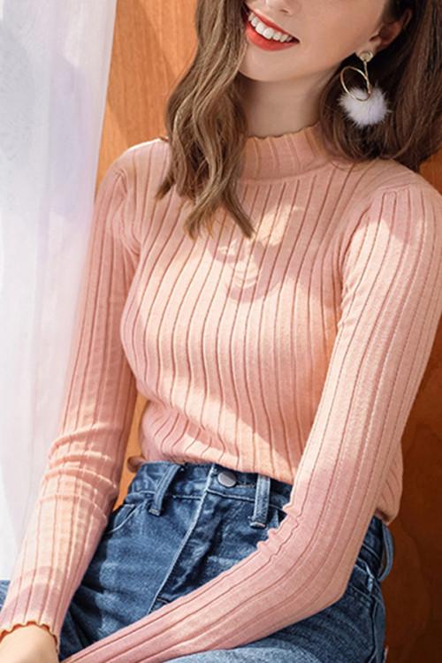 Plain High Neck Knit Sweater