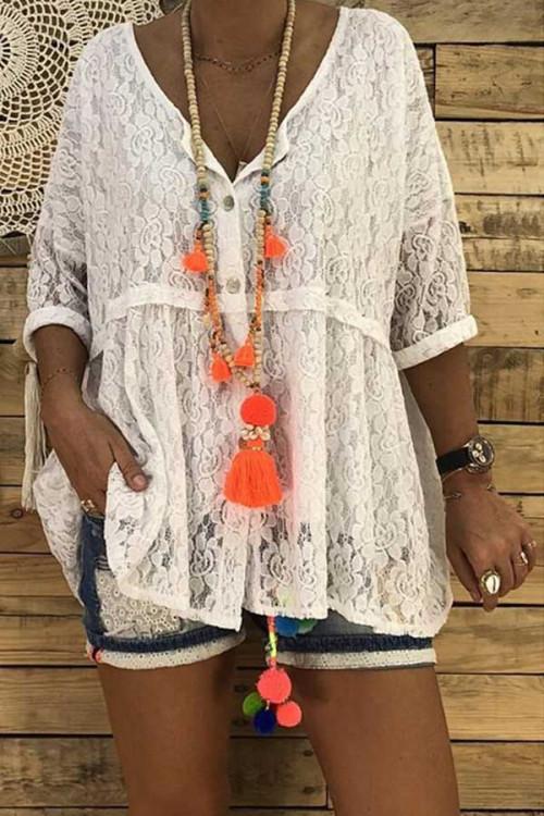 Plain Lace V-neck Button Blouse