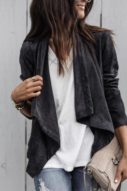 Plain Lapel Suede Casual Jacket