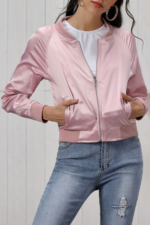 Plain Scoop Zipper Jacket
