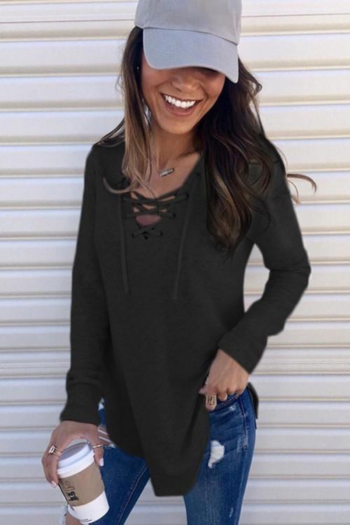 Plain V-neck Lace-up T-shirt
