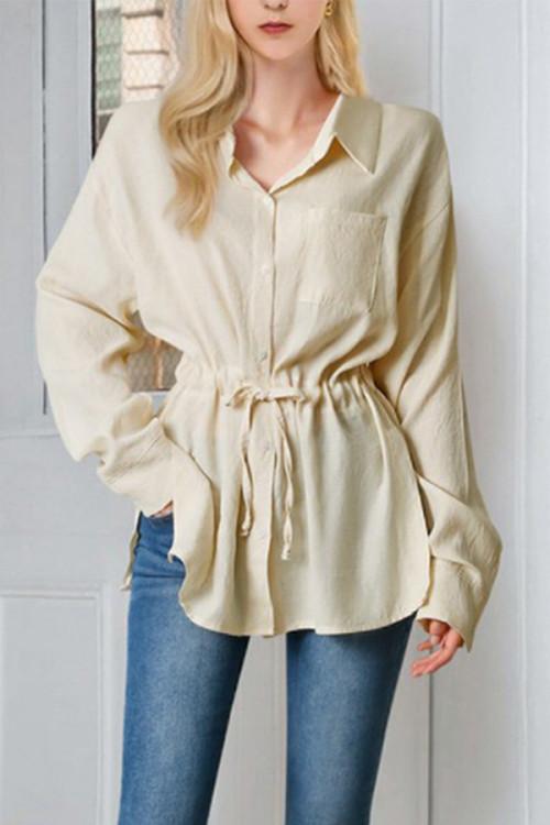Plus Size Button Lace-up Shirt