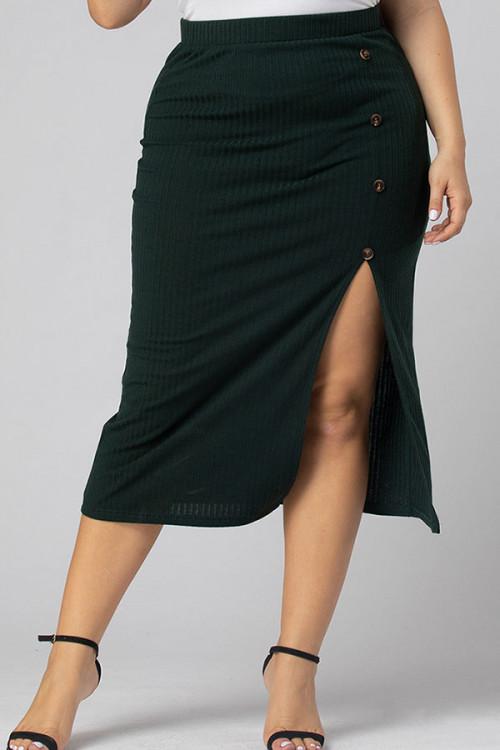 Plus Size Buttoned Slit Skirt