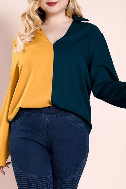 Plus Size Color Block Top