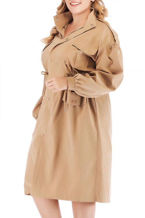 Plus Size Drawstring Trench Coat