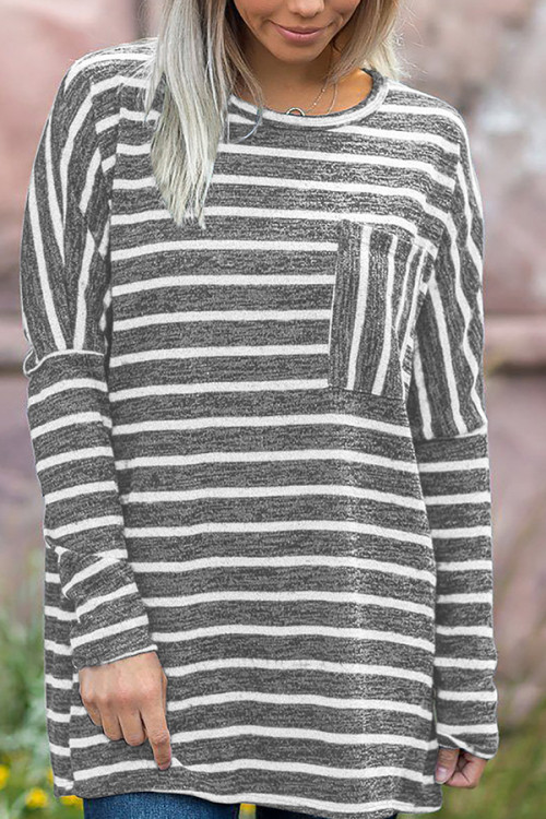 Pockets Striped Loose Blouse