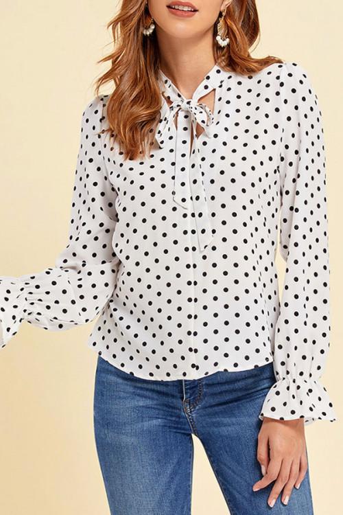 Polka Dot Bowknot Shirt