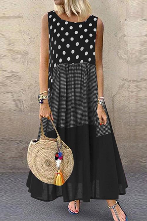 Polka Dot Sleeveless Maxi Dress