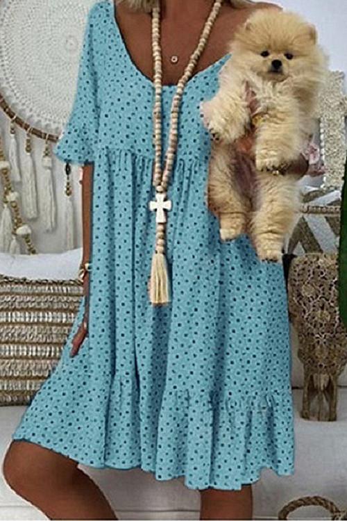 Polka Dot Ruffled Tunic Dress