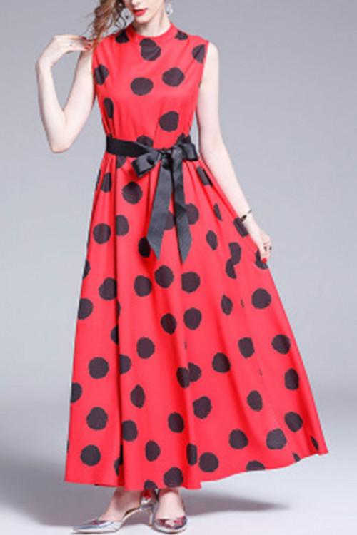 Polka Dot Sleeveless Lace-up Dress