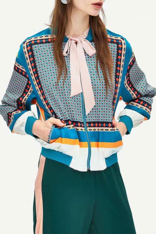 Print Patchwork Zipper Jacket