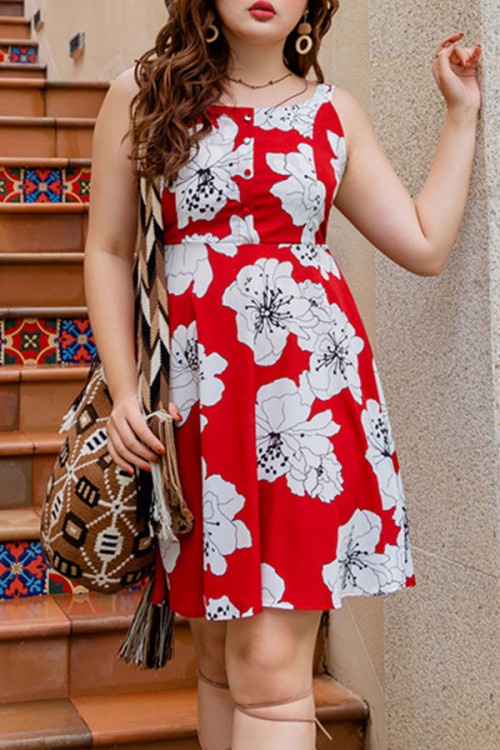Print Scoop Backless Dress
