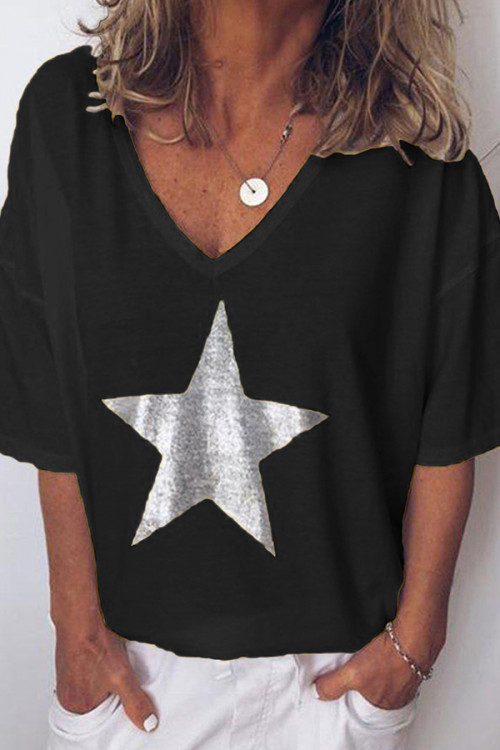 Print Star V-neck T-shirt