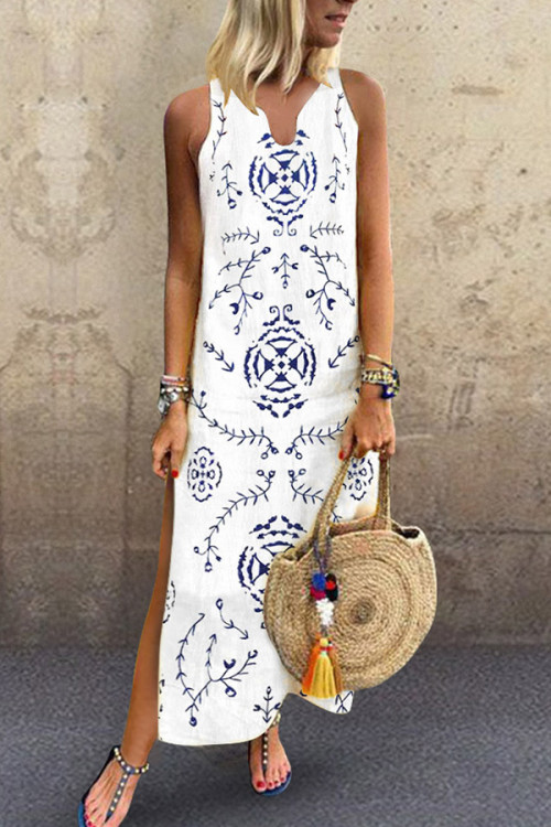 Print V-neck Slit Tunic Dress
