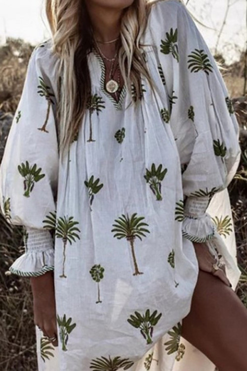 Printed Lantern Long Sleeves Dress