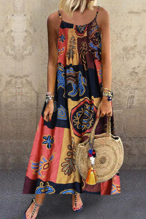 Vintage Printed Sleeveless Maxi Dress