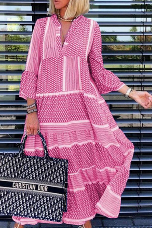 Printed V-cut Maxi Dress