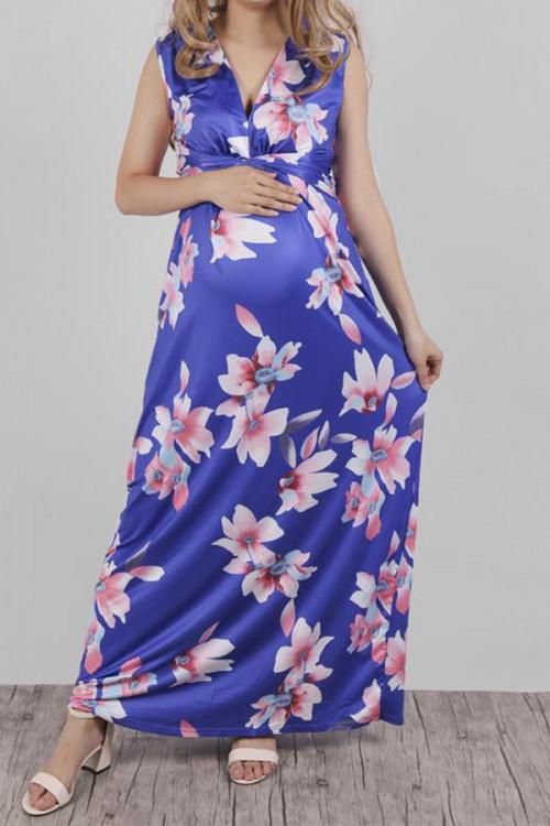 Printed V-neck Maternity Long Dress