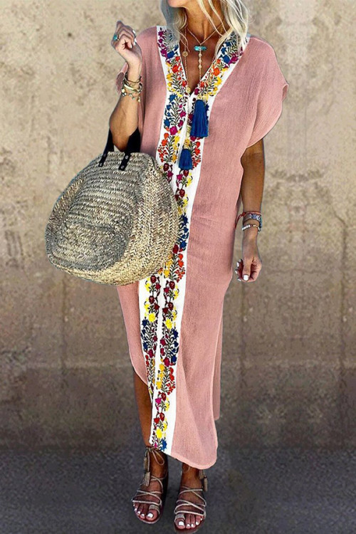 Printed V-neck Slit Shirt Dress