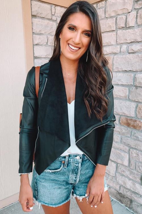 PU Leather Zipper Jacket
