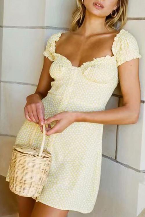 Puff Sleeve Buttoned Mini Dress