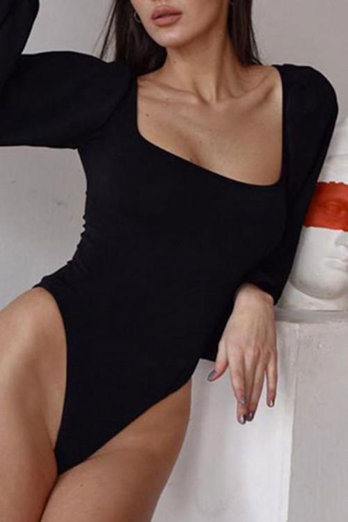 Puff Sleeve Cutout Back Bodysuit