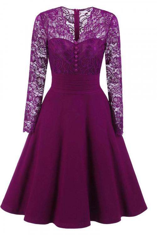 Purple Lace A-line Homecoming Dress