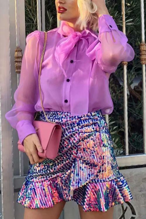 Purple See-Through Shirt