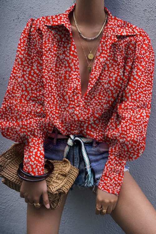 Red Ditsy Floral Long-sleeve Shirt