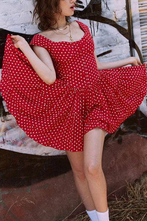 Red Polka Dot Swing Dress