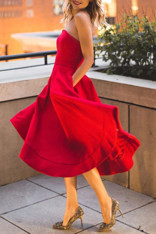 Red V-neck Strapless A-line Dress