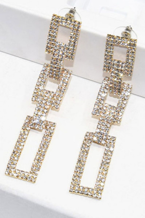 Rhinestone Square Pendant Earrings