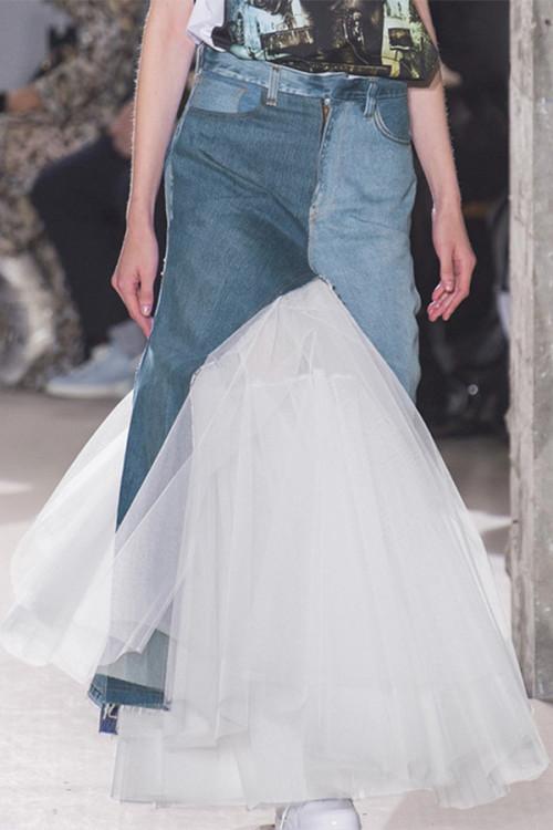 Ruffled Denim Tulle Mermaid Skirt