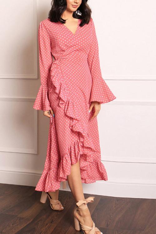 Ruffled Polka Dot V-neck Dress