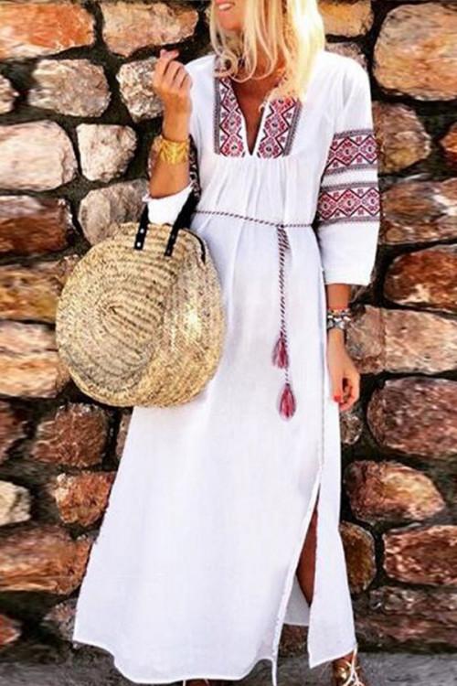 Sashes Print Wrap Dress