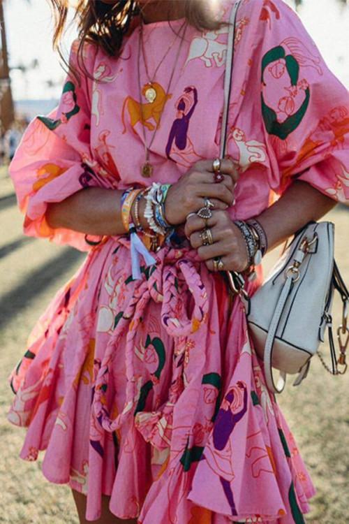 Sashes Ruffled Wrap Dress